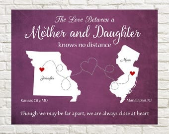 Gift for Mom, Mother's Day, Long Distance Mother- Daughter Map,  Personalized Map for Mother and Daughter Living Far Away, Gift for Mother