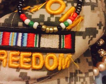 OIF military ribbon beaded bracelet