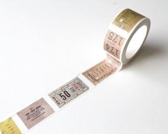 Ticket washi tape/ Vintage Tickets Planner tape/ Scrapbooking Supplies