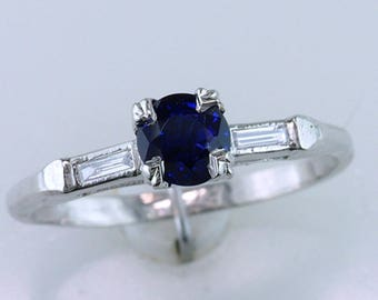 High Quality .80ct Sapphire & Diamond Platinum Engagement Wedding Ring