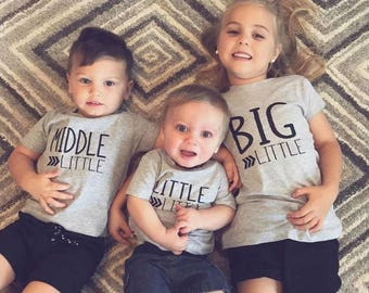 Big, Middle, Little Shirts, Personalized Shirts, Big Brother, Big Sister, Little Brothet Shirt, Matching Shirts