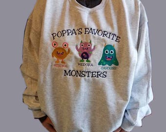 Personalized Monster Theme Sweatshirt With Custom Embroidered Design & Names