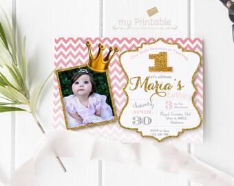 Little Princess Birthday Invitation with Photo / Printable