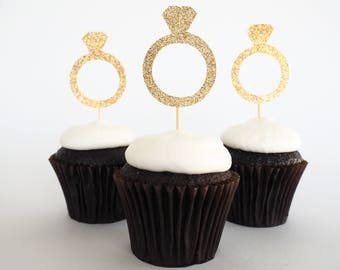 Diamond ring cupcake toppers | Ring cupcake toppers | Engagement toppers | Bridal shower toppers | Bachelorette toppers | Hens toppers