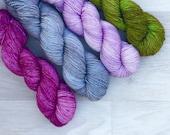 Your Slip Is Showing. Shawl Kit. Hand Dyed Yarn.  Merino. Sock Weight. Gigi Bonin.