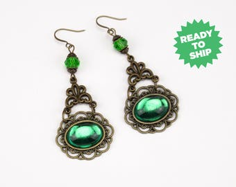 Marquesa Questa earrings green bronze, renaissance earrings, renaissance jewelry, Victorian earrings, Tudor jewelry, fantasy green (3024je)