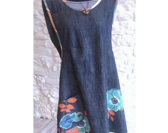 Denim Apron Dress with screen printed/hand painted design, appliqué & pocket detail.