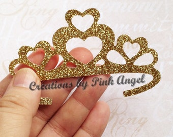 Set of 12 Tiara Cutouts, Glitter Crown Tiara Die Cuts, Gold Glitter Crown Paper Dies, Silver Princess Cutouts
