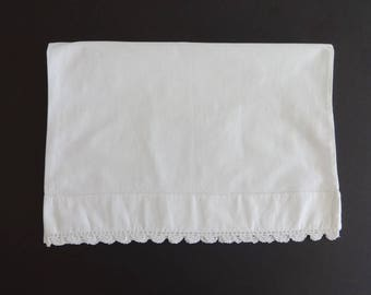 "Vintage 14"" x 19 1/2"" White Cotton Baby Pillowcase Pillow Case Cover Lace Edging"