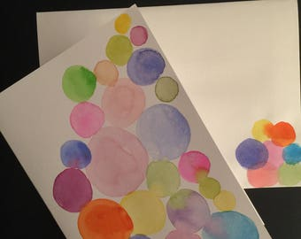 Colorful Circles/Handpainted Watercolor Greeting Card