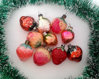 Set of 10 vintage soviet glass Christmas tree decorations, strawberries, Xmas ornaments, made in USSR, 1950-60s