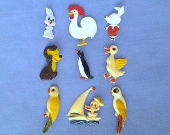Vintage soviet children's pin badges, animals, birds, cartoon characters, made in USSR, 1970s