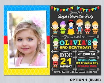 Snow White Invitation Photo, Snow White Birthday Invitation Photo, Snow white invitations