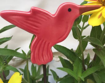 Red Hummingbird Garden Stake