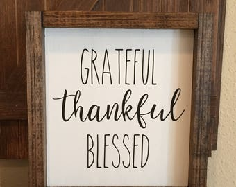 Rustic Home Decor, Grateful Thankful Blessed, Fall Decor,Fall Sign,Thanksgiving Sign,Thanksgiving Decor,Farmhouse Decor,Farmhouse Fall Sign
