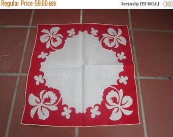 Hawaiian Orchid Handkerchief Vintage 1950's Red White Flower Linen Linen Accessories Collectible Gift - Acc084