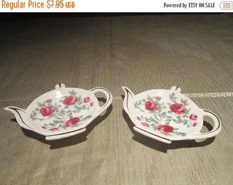 Teapot Tea Bag Holder Set Vintage 1980's Pink Rose Porcelain Bag Holders Tea Coffee Spoon Rest Gold Gilt Serving Dining - CT0214