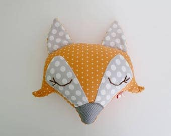 Plush Fox or cuddly orange and gray stars and dots by rank graphic Fox ' TaChambre