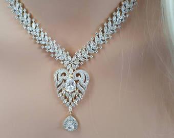 Heart Cubic Zirconia Necklace Set