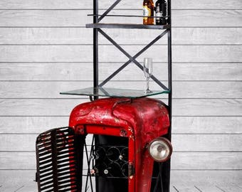 Large Upcycled Vintage Tractor Bar Shelf Unit With Glass Counter Top