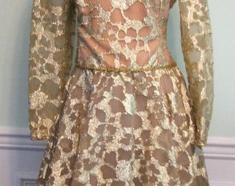 Vintage Dress Gold Lame Party Lace Chiffon 1980s