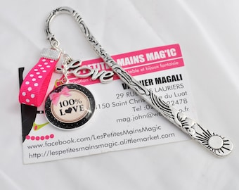 Silver bookmark 100% love