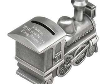 Personalized Train Bank - Ring Bearer Gift - Child's Gift - Train - Will you be our Ring Bearer Train Bank - Pewter Train Bank