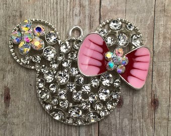 One (1) 40mm x 34mm Minnie Mouse PINK BOW Rhinestone Pendant for Chunky Necklaces.