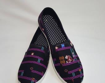 8 Bit Donkey Kong Shoes - Choose Your Shoe Style- Wedding- Geek- Bride- Bridal Shoes- Prom- Graduation- Gift- Custom Shoes