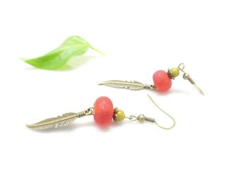 Bohemian chic earrings ~ Red Feather ~