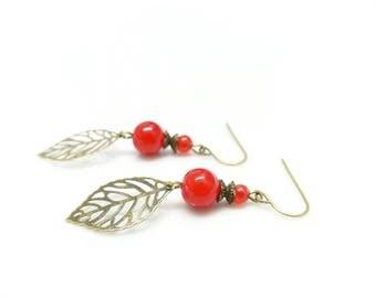 Bohemian earrings ~; ~ leaves vermilion ~; ~ red earrings. Earrings leaf earrings red beads