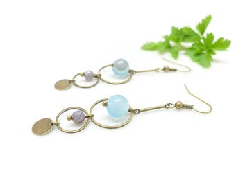 Thin & chic earrings ~ agate wire ~
