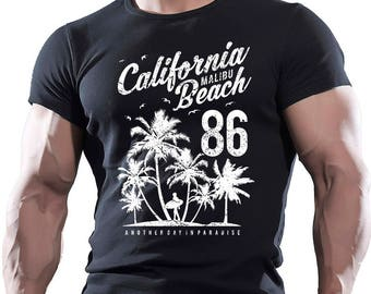 California Malibu Beach. Men's Black Cotton T-shirt.