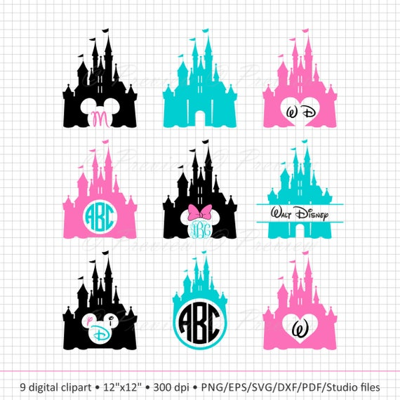 Buy 2 Get 1 Free Digital Clipart Disney Castle Monogram