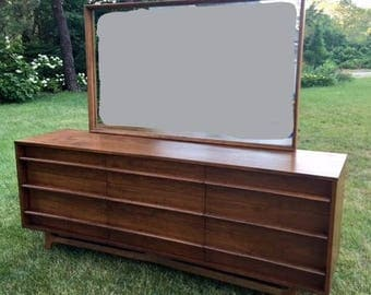 mid century modern curved front dresser with mirror 9 drawer dresser young long