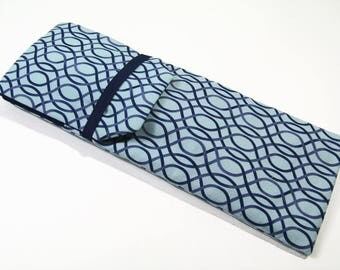 Insulated Curling Iron, Flat Iron, Hair Iron Travel Case in Shades of Blue with a Navy Interior