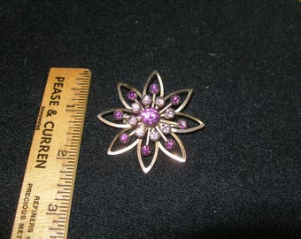 Purple Rhinestone Brooch (777)