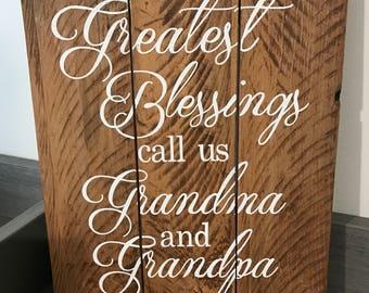 Grandparents Rustic Wood Sign, Grandparents Gift