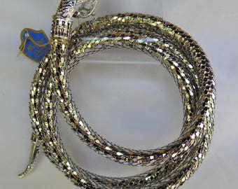 Vintage Whiting & Davis Egyptian Revival Silver Tone Mesh Serpent Snake Belt Necklace with Blue Rhinestones Original Tag and Box