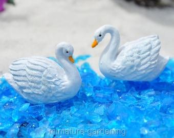 Snow Swans, 2 Piece Set for Miniature Garden, Fairy Garden