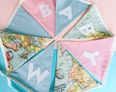 World map bunting, World map, Map bunting, Personalised bunting, Personalized bunting, Name bunting,Baby name bunting, Pink and blue bunting