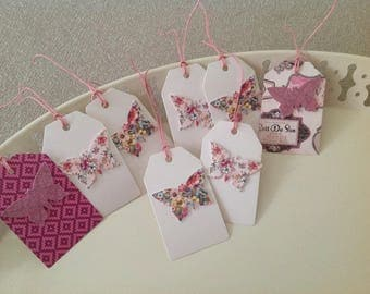 Set of 8 tags tags collection Butterfly with pink ties