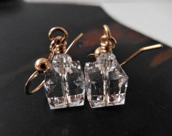 Clear Crystal Cube Earrings, Gold and Crystal Earrings, Swarovski Crystal Cube Earrings, Purely Crystal Clear Cubes with Gold Fill Earwires