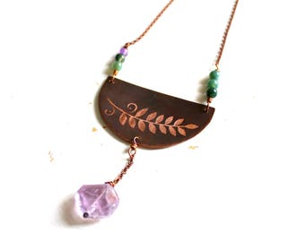 Long copper necklace with pendant engraved with leaf, amethyst pendant, gift for her, girlfriend Gift, Mother's Day gift, viola