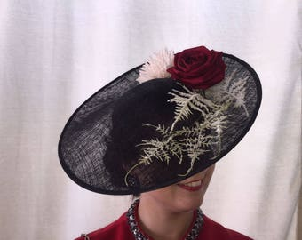 Black Fascinator with red and ivory flowers/Wedding Hats and Caps/Tocado/Black saucer fascinator/Guest Fascinator/Smart fascinator