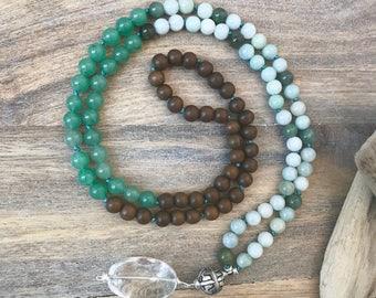 Green Jade, Green Aventurine and Grey Wood 108 Japa Mala with Sterling Silver Accents/ Mala Beads/ Yoga Gemstone Mala/Meditation Mala Beads