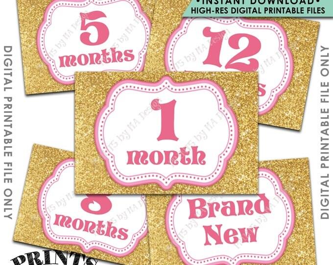"First Birthday Decoration 12 Months Photo Banner, 1st Birthday Banner, Pink & Gold Glitter 1st Year Banner, 4x6"" Printable Instant Download"