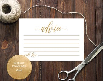 INSTANT DOWNLOAD 4x6 Advice card Advice for the Bride and Groom Advice for the parents calligraphy Cards Printable Gold Digital #DP130_15