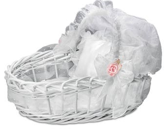 """Sweet Slumber White Wicker Baby Doll Basket with Retractable Hood by The Ashton-Drake - Fits dolls up to 19"""""""