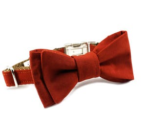 Luxury Dog or Cat Bow Tie - The THEO // Classic (Rust Red Solid Print)